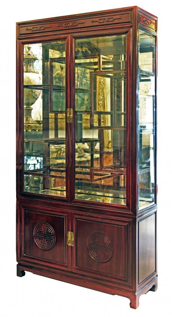A CHINESE MIXED-WOOD OPENWORK VITRINE CABINET