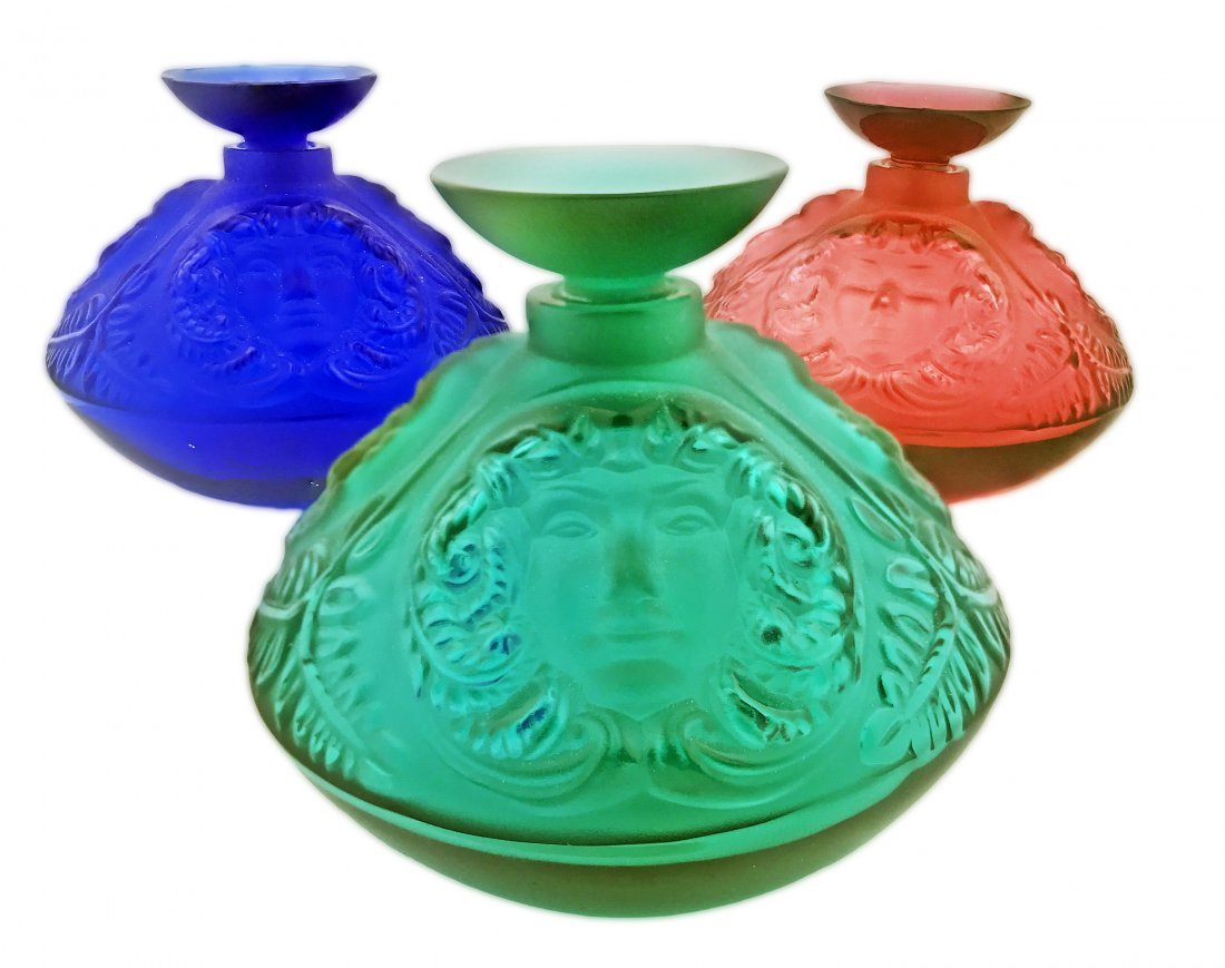 LALIQUE FRANCE 20TH CENTURY, THREE PERFUME BOTTLES