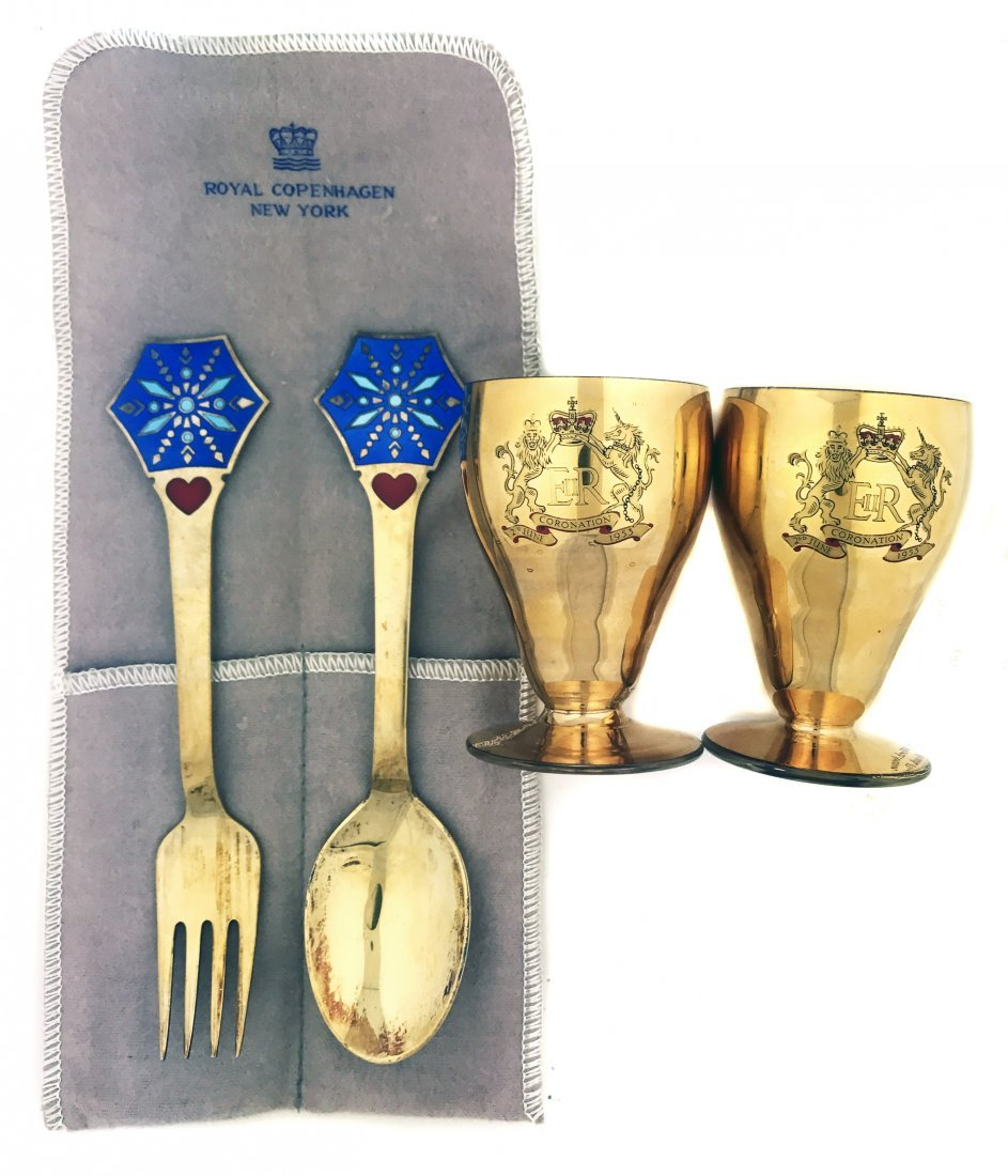 STERLING SPOON AND FORK AND TWO CORONATION CUPS
