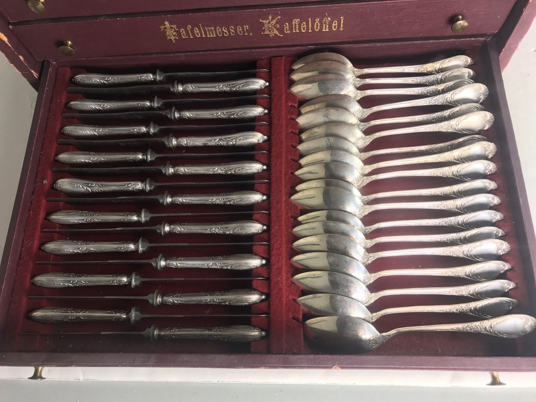 EXTENSIVE GERMAN .800 SILVER FLATWARE SERVICE FOR 18 - 2