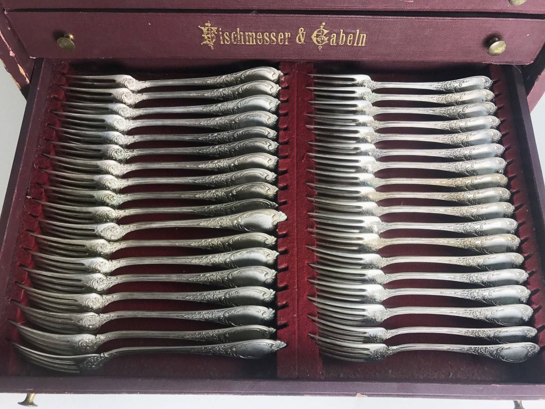 EXTENSIVE GERMAN .800 SILVER FLATWARE SERVICE FOR 18 - 5