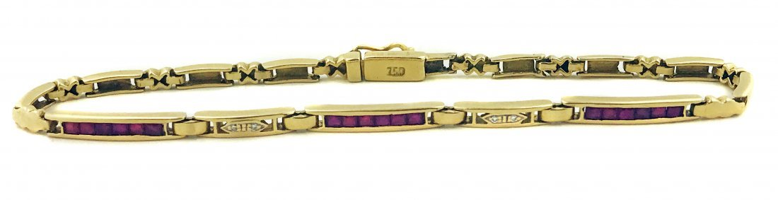 18KT GOLD RUBY AND DIAMOND BRACELET