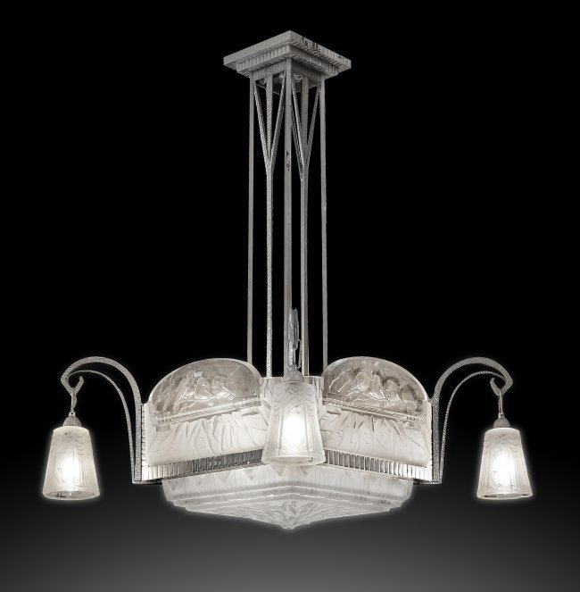 FINE AND RARE ART DECO CHANDELIER, MULLER DRERES