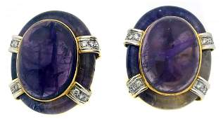 EMIS, PAIR OF 18 KT GOLD AMETHYST AND DIAMOND EARCLIPS