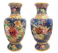 A PAIR OF LARGE CLOISONNE ENAMEL VASES CHINESE