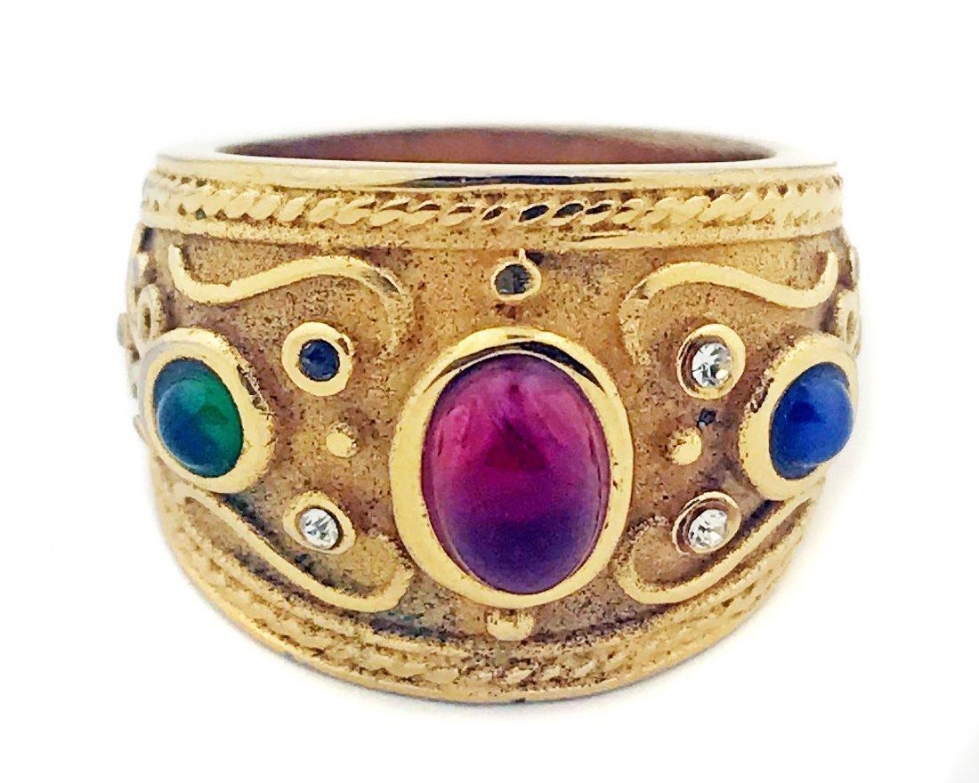 14 KARAT GOLD RUBY AND DIAMOND RING