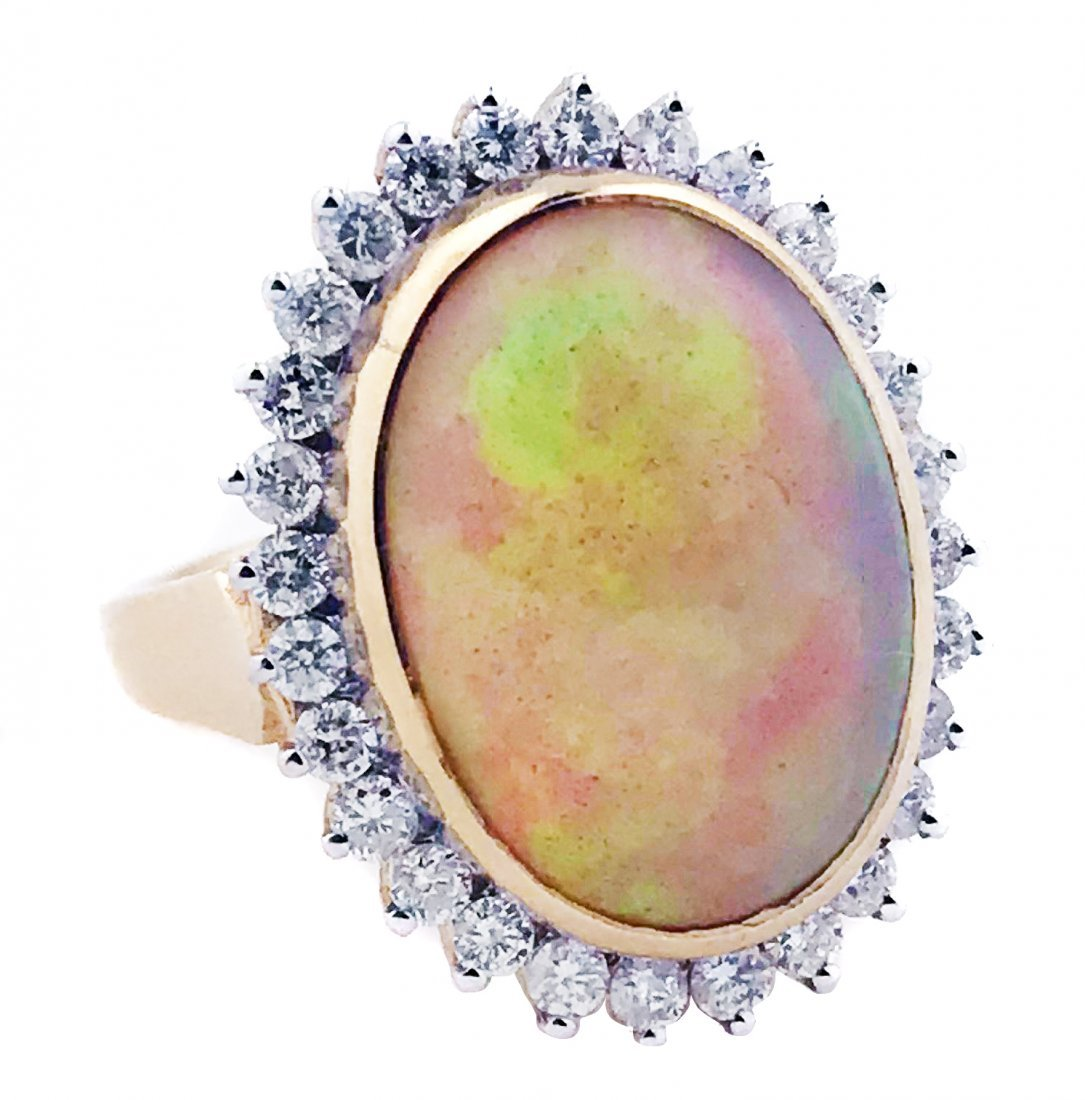 14 KARAT GOLD, OPAL AND DIAMOND RING