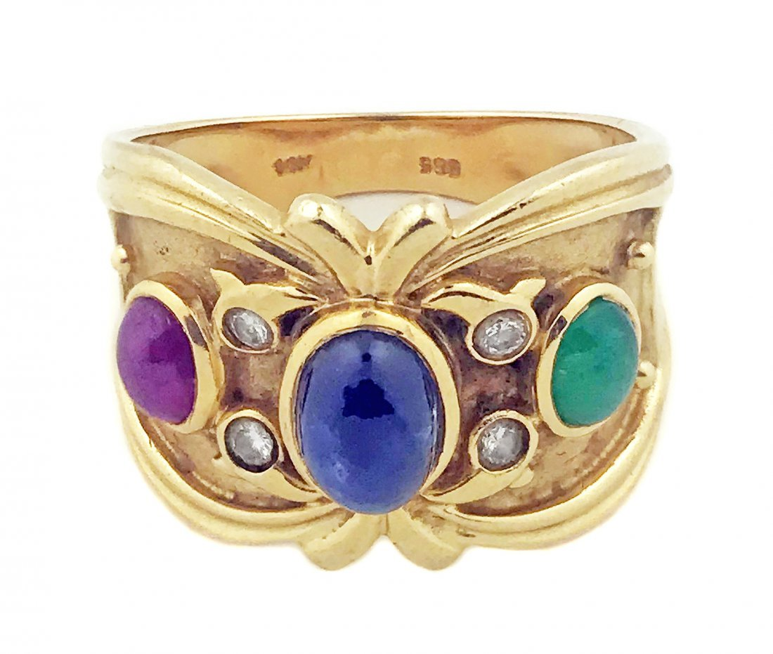 14 KARAT GOLD, COLORED STONE AND DIAMOND RING