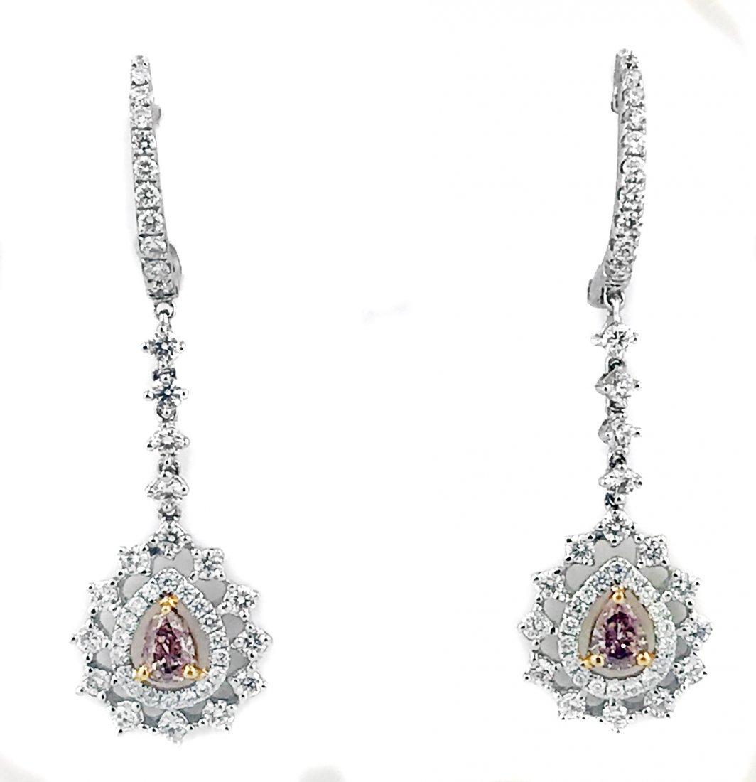 PAIR OF DIAMOND AND DIAMOND EARRINGS