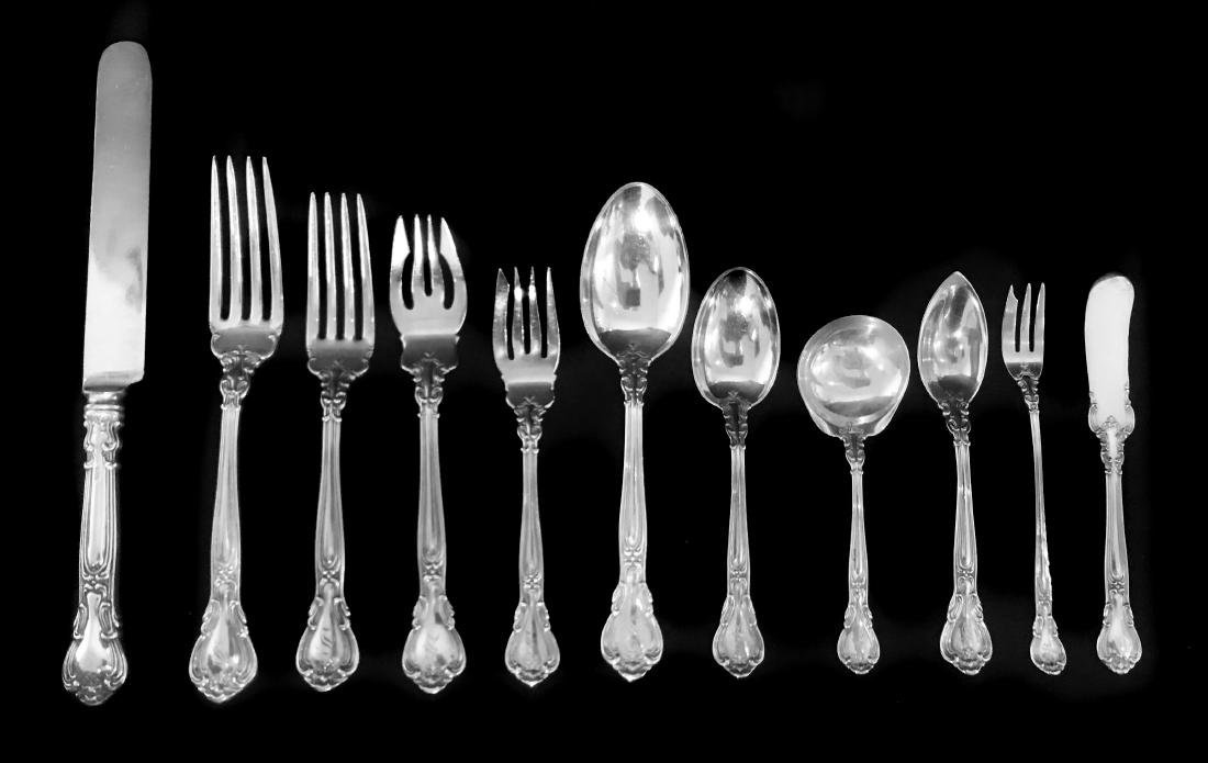 109 PIECE STERLING SILVER FLATWARE, GORHAM CHANTILY