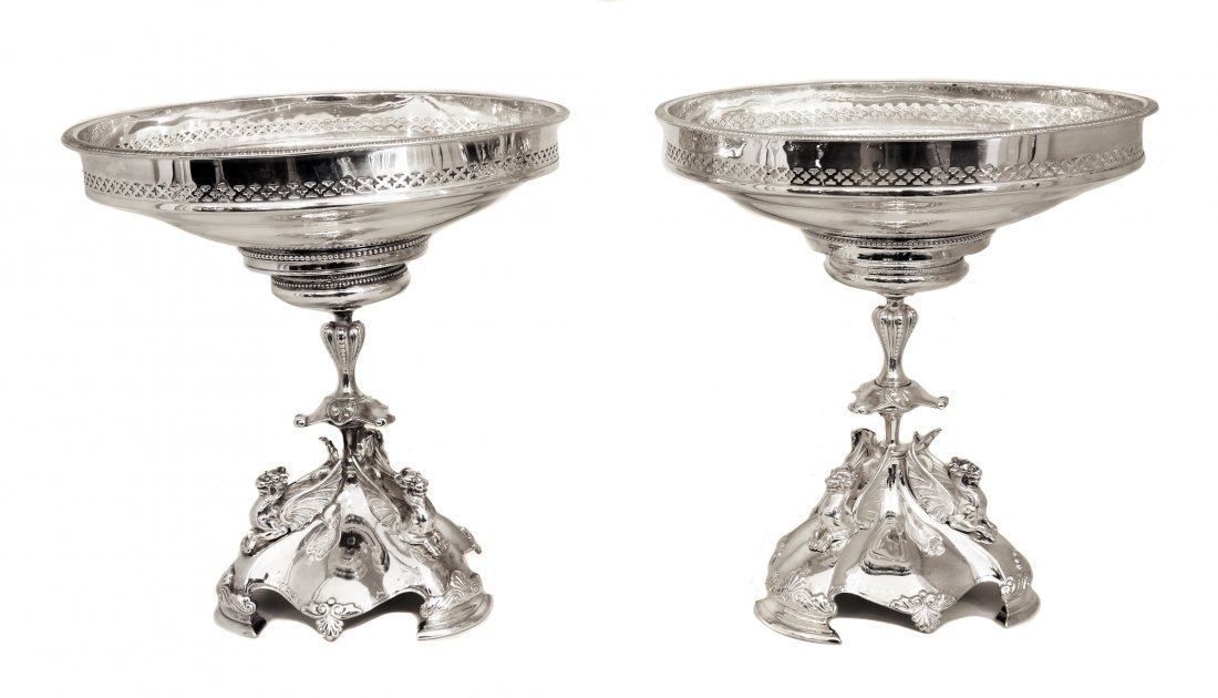 PAIR EARLY VICTORIAN SILVER-PLATED DESSERT STANDS