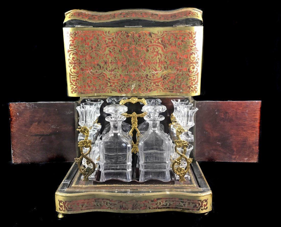 A NAPOLEON III BOULLE STYLE BRASS INLAID LIQUOR BOX