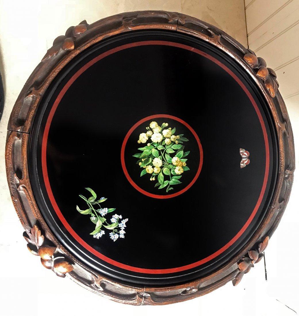 MICROMOSAIC AND BLACK MARBLE CIRCULAR TABLE