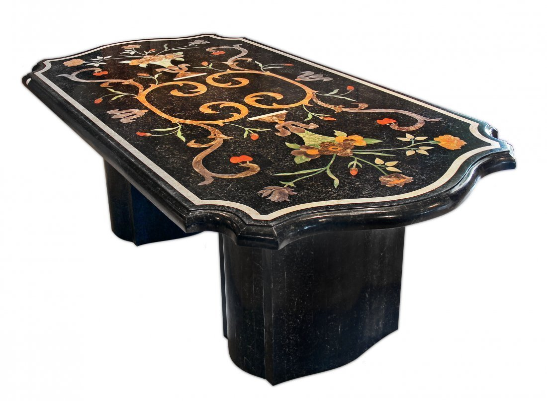 INLAID MARBLE DINING ROOM TABLE, 20TH CENTURY