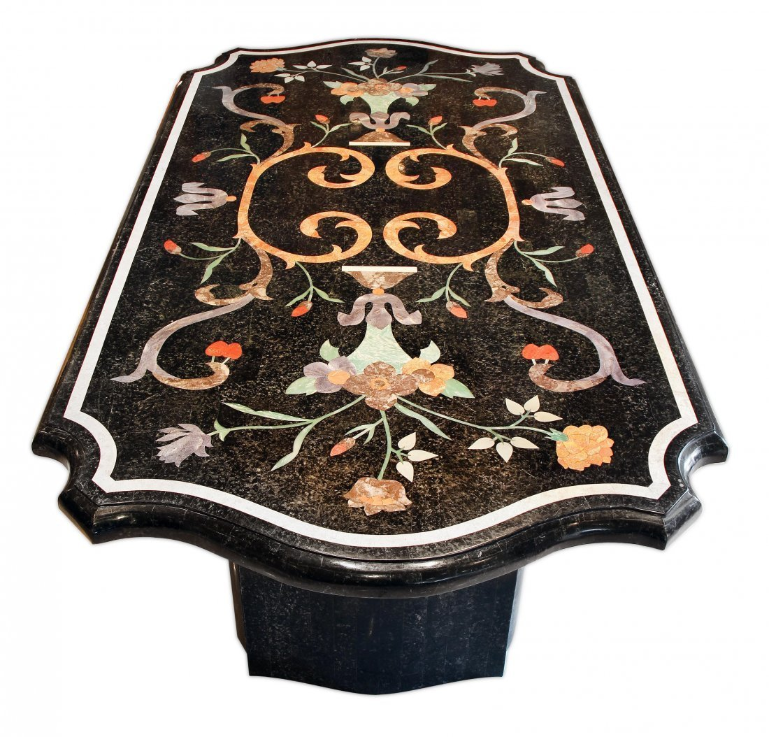 INLAID MARBLE DINING ROOM TABLE, 20TH CENTURY - 2