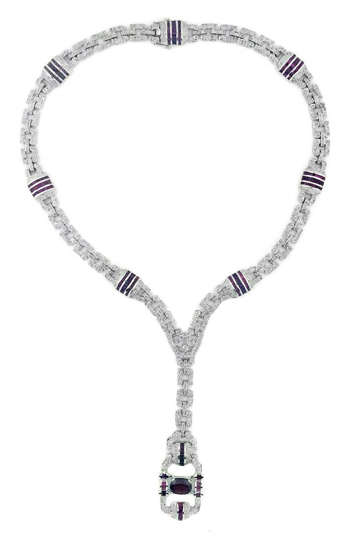 COLORED STONE AND DIAMOND NECKLACE