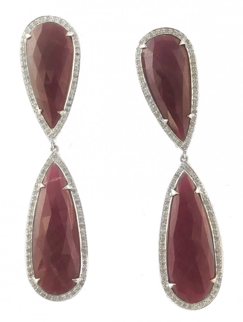 PAIR OF RUBY AND DIAMOND EARRINGS