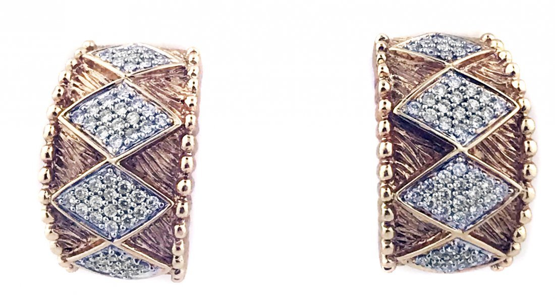 14 KARAT GOLD AND DIAMOND EAR CLIPS