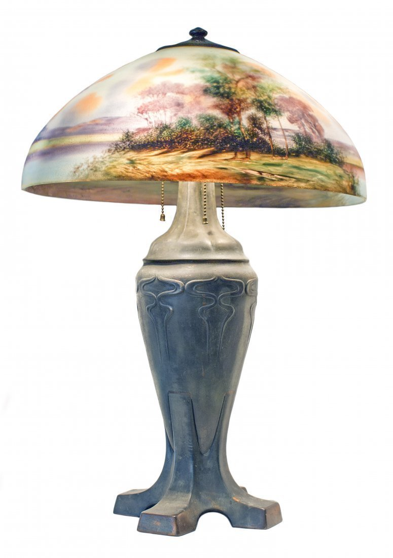 HANDEL REVERSE-PAINTED GLASS AND PATINATED METAL LAMP