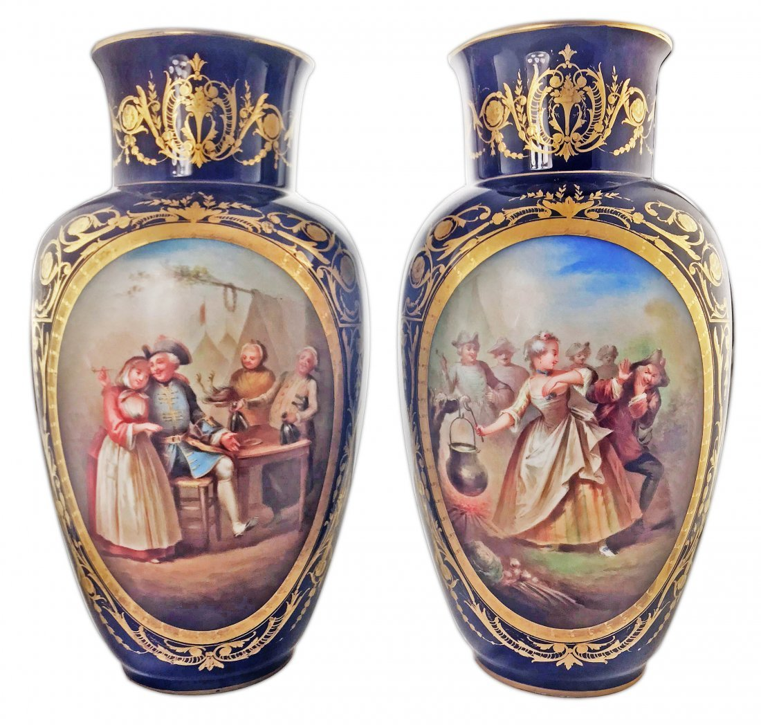 A PAIR OF SÈVRES-STYLE PORCELAIN BLUE-GROUND VASES