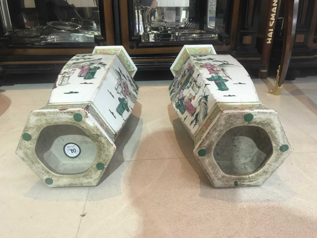 Pair of Chinese Famille Verte Porcelain Vases - 4