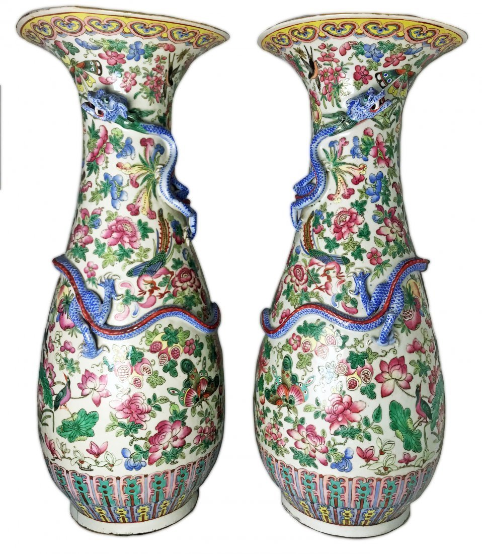 PAIR OF CHINESE PORCELAIN VASES, DAMAGED
