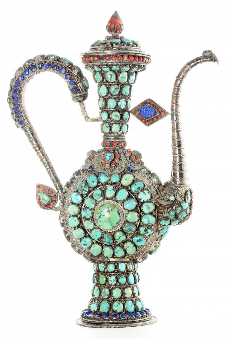 MONGOLIAN CEREMOIAL SILVER WINE JUG AND COVER