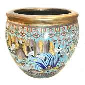 LARGE CLOISONN ENAMEL BIRDS IN PARADISE BOWLCHINESE