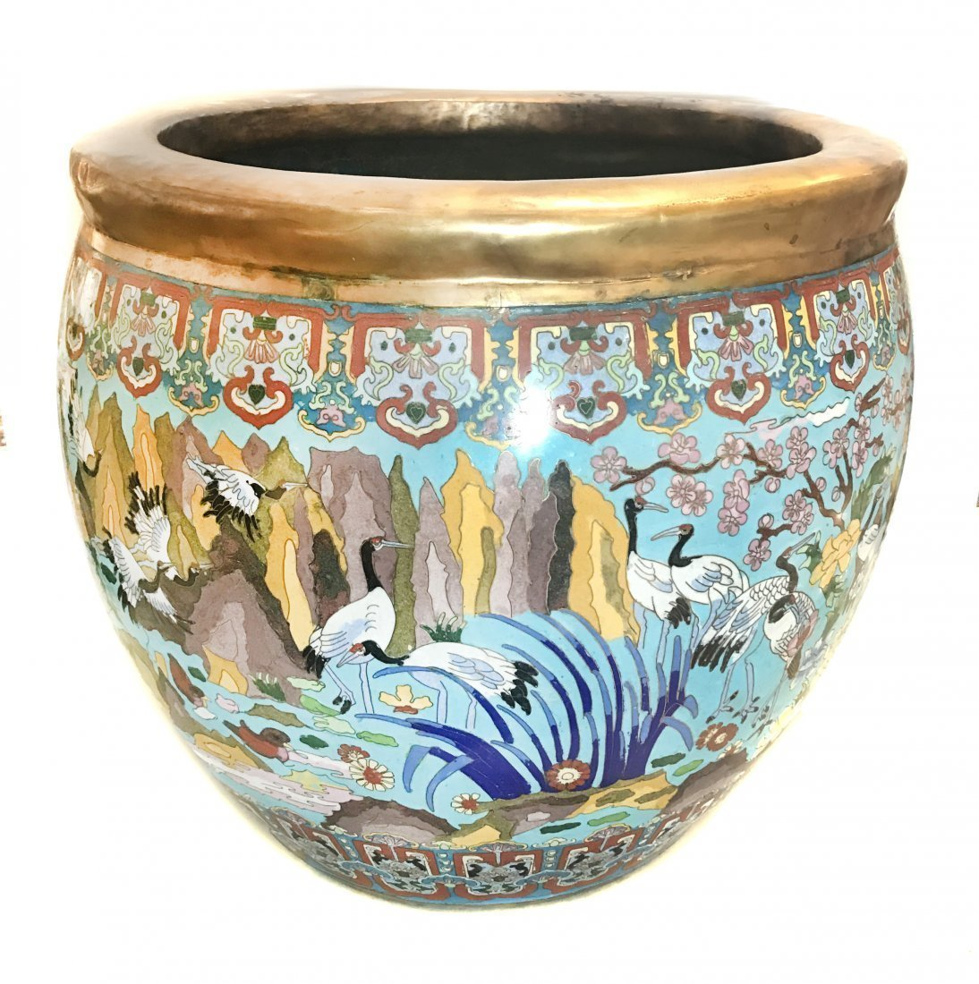 LARGE CLOISONNÉ ENAMEL 'BIRDS IN PARADISE' BOWL,CHINESE