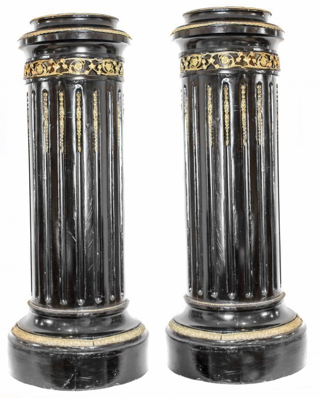 PAIR FRENCH BRASS MOUNTED ROSEWOOD PEDESTALS