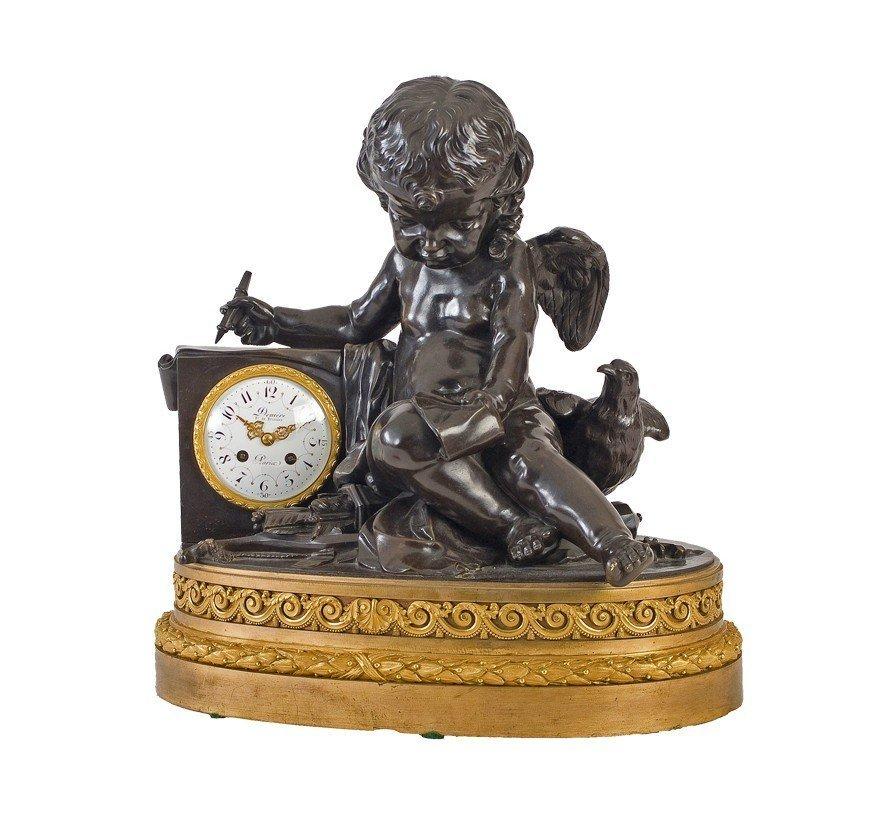LARGE AND FINE CHERUB CLOCK, DENIERE PARIS, CIRCA 1870