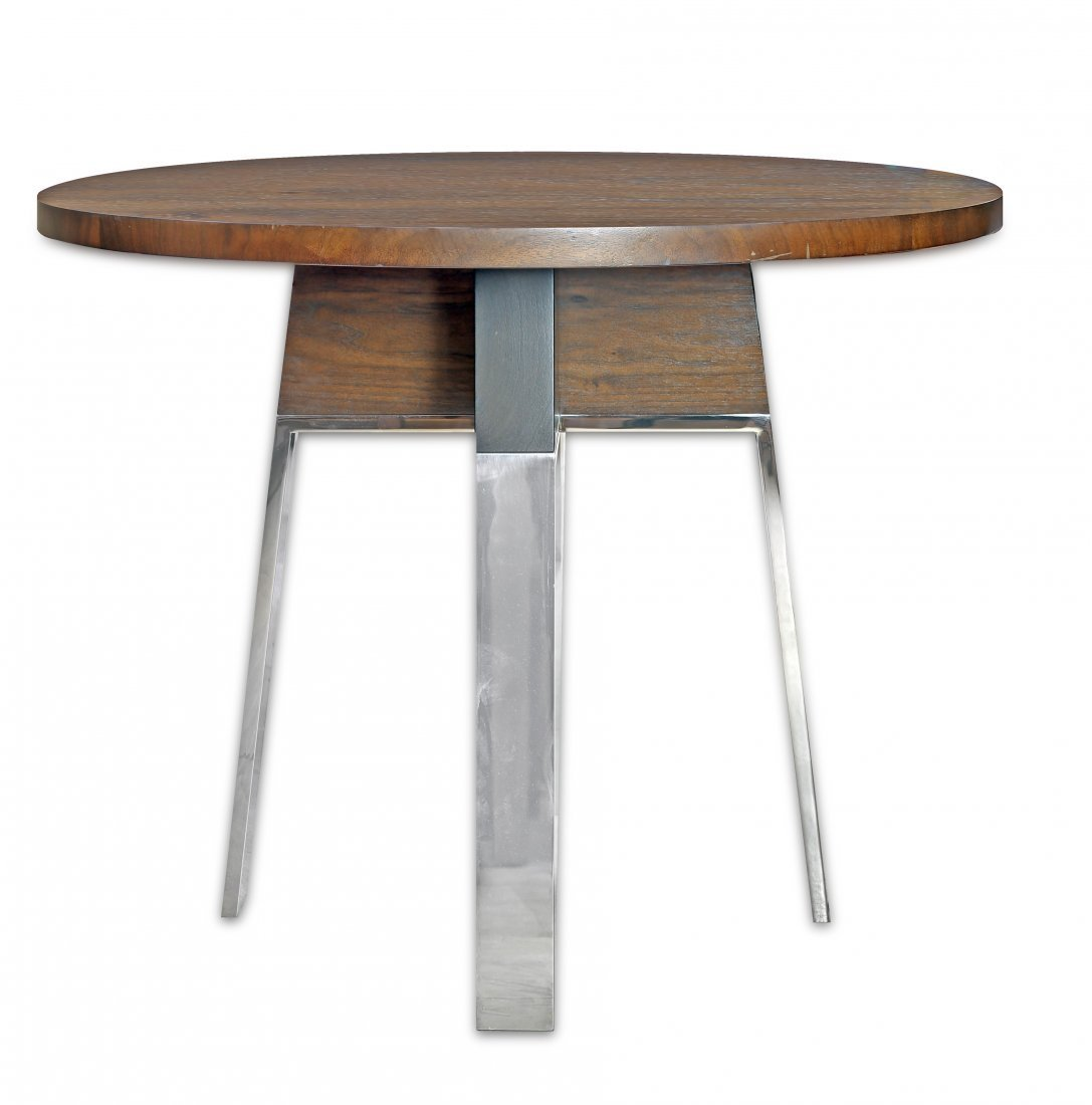 CONTEMPORARY WOOD AND STAINLESS STEEL TABLE