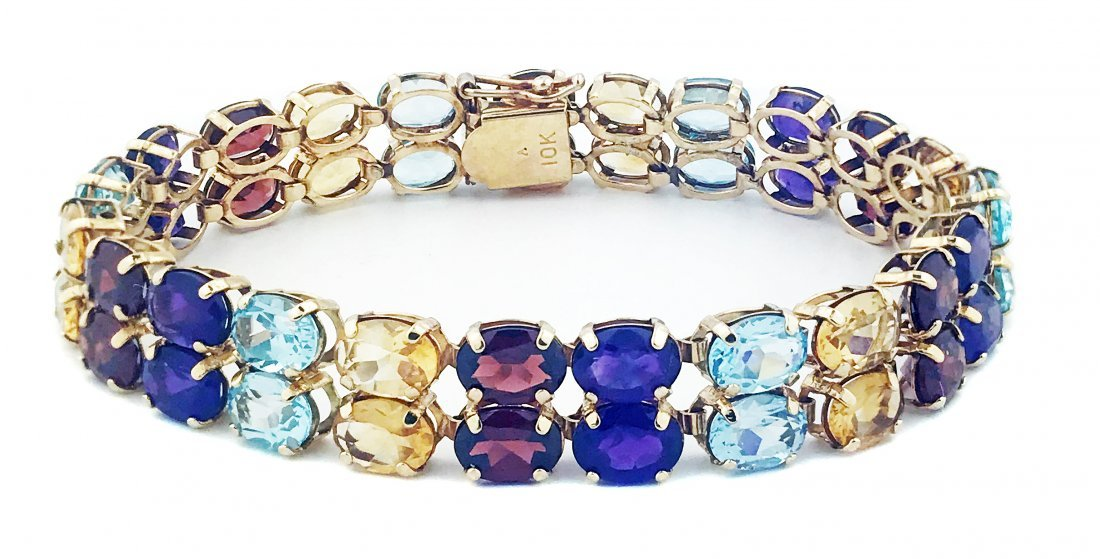 YELLOW GOLD AND COLORED STONE BRACELET
