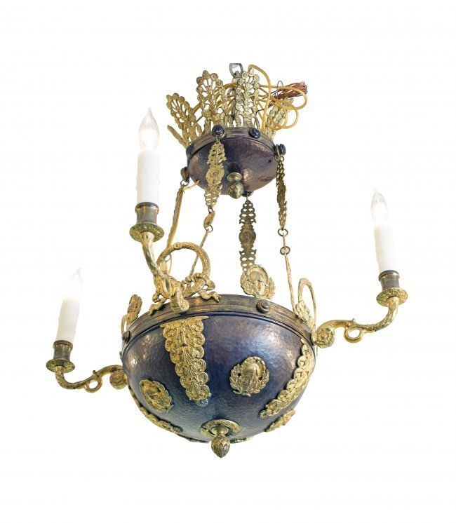 EMPIRE STYLE GILT-METAL FOUR-LIGHT CHANDELIER