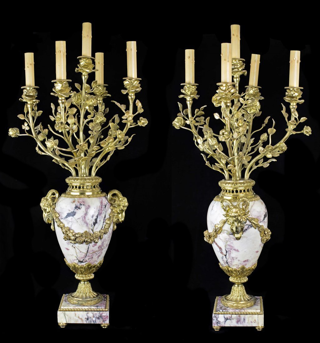 PAIR OF LARGE NAPOLEON III STYLE GILT-BRONZE CANDELABRA