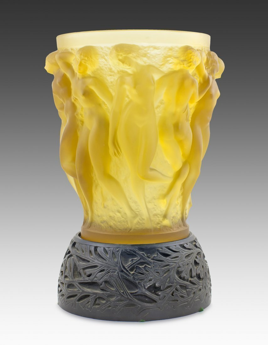RENE LALIQUE 'BACCHANTES' YELLOW GLASS VASE
