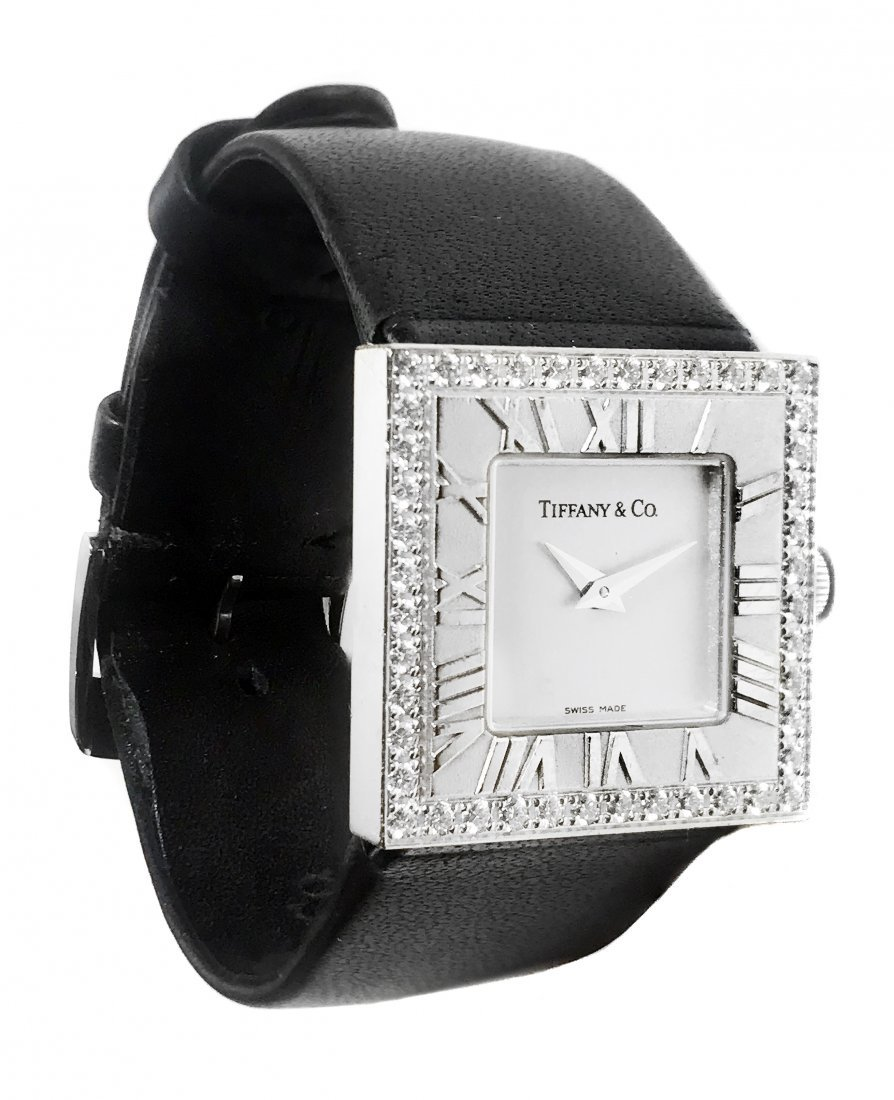 Tiffany & Co. 18 Kt White Gold and Diamond Wristwatch