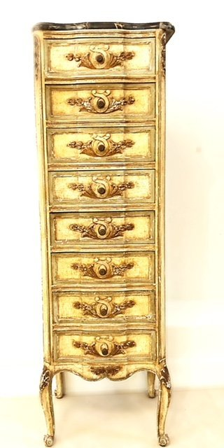 ITALIAN ROCOCO STYLE PAINTED TALL CHEST OF DRAWERS