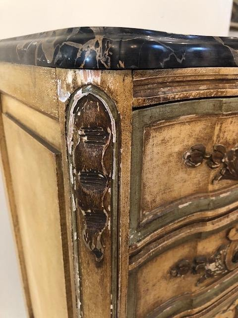 ITALIAN ROCOCO STYLE PAINTED TALL CHEST OF DRAWERS - 3