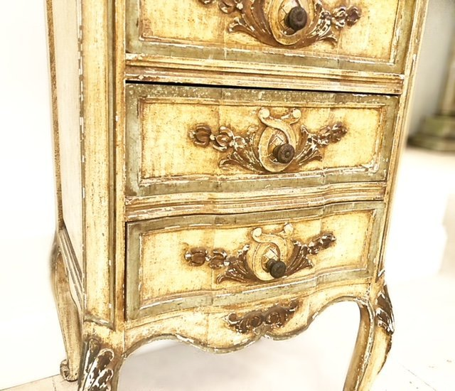 ITALIAN ROCOCO STYLE PAINTED TALL CHEST OF DRAWERS - 4
