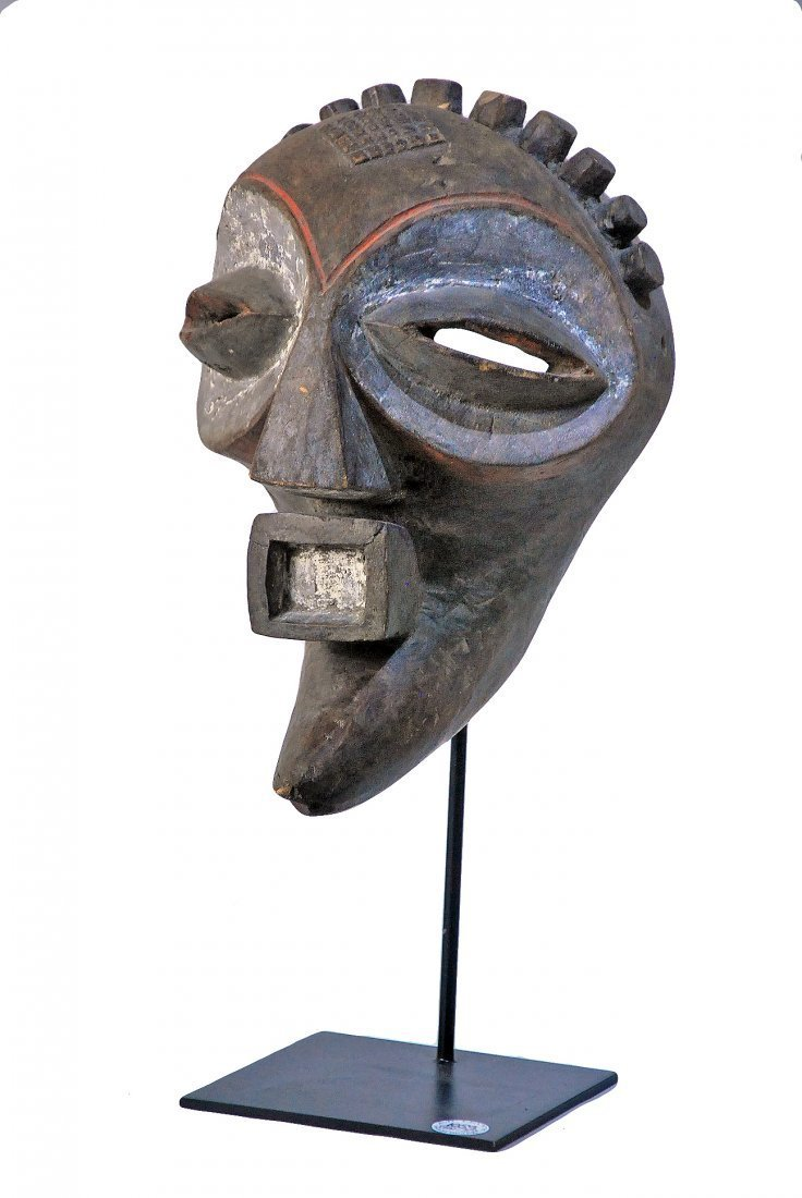 KIEFWEBE SOCIETY CEREMONIAL DANCE MASK - carved wood.