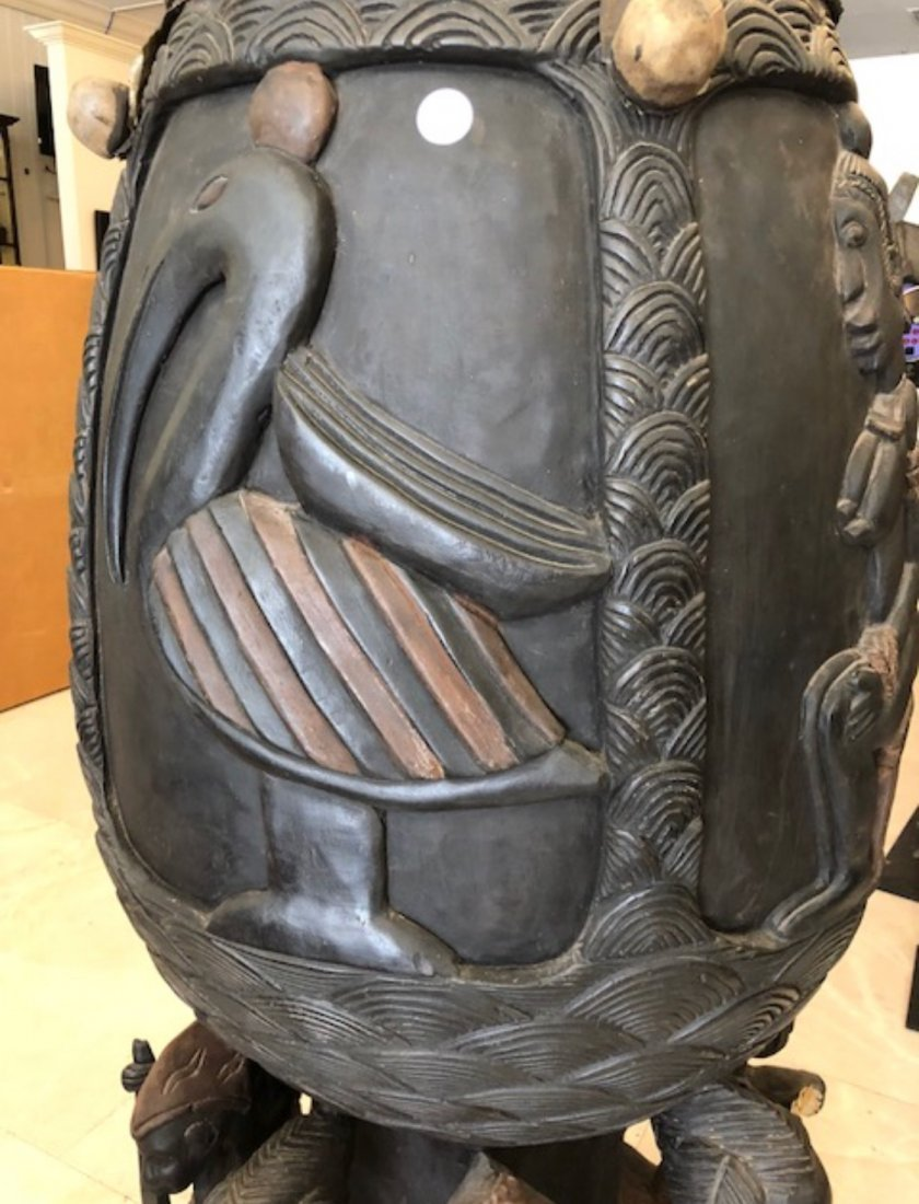 CENTRAL AFRICAN CARVED WOOD DRUM - 10