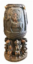 CENTRAL AFRICAN CARVED WOOD DRUM