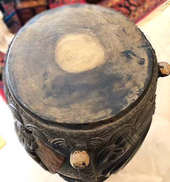 CENTRAL AFRICAN CARVED WOOD DRUM - 2