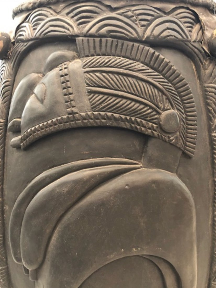 CENTRAL AFRICAN CARVED WOOD DRUM - 8