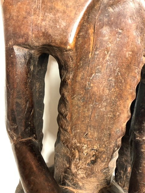 AFRICAN CARVED WOOD SEATED MALE FIGURE - 4