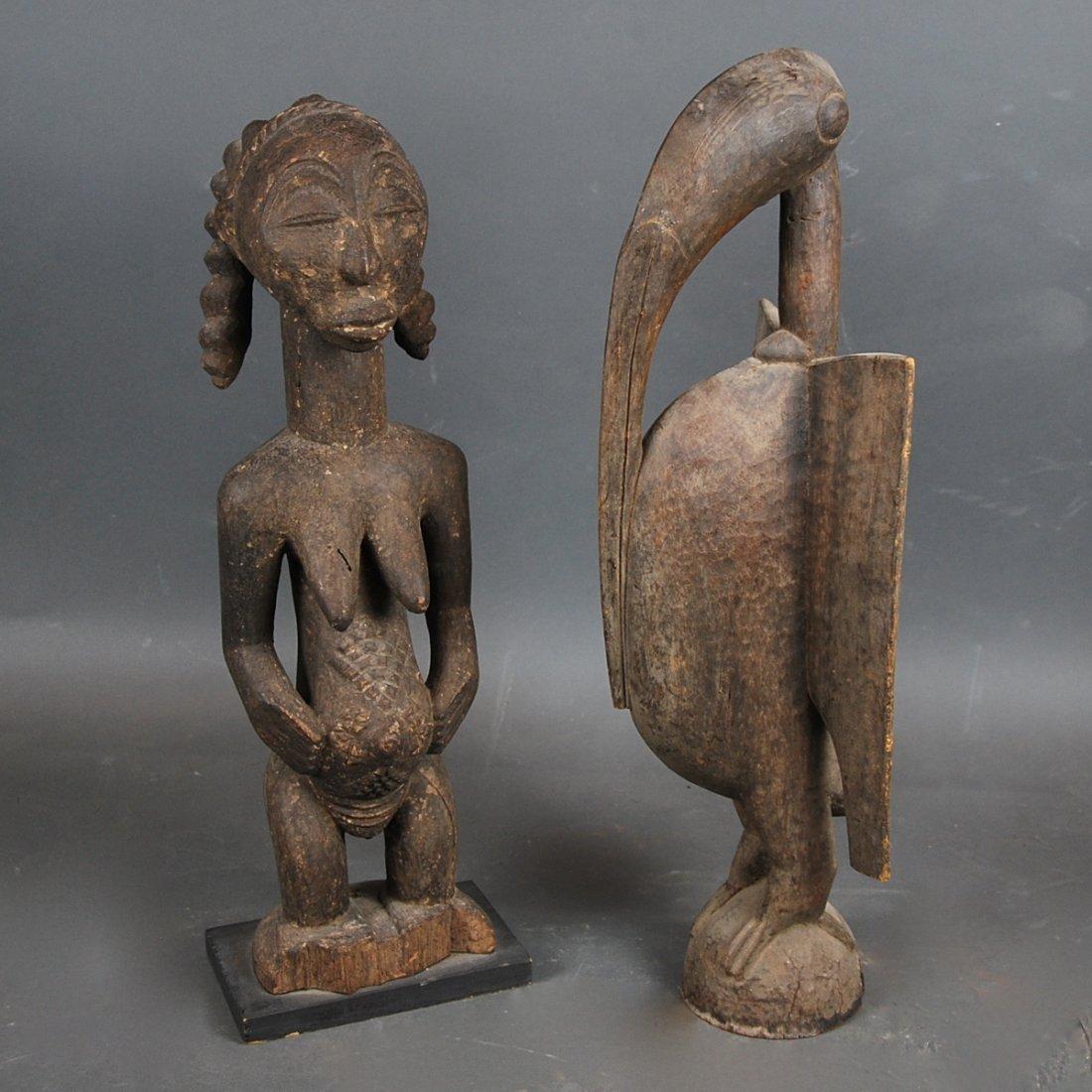 AFRICAN WOOD FEMALE FIGURE & A ZOOMORPHIC IBIS - 10