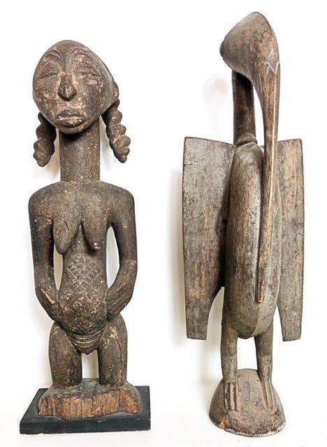 AFRICAN WOOD FEMALE FIGURE & A ZOOMORPHIC IBIS