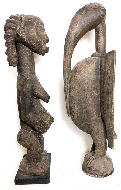AFRICAN WOOD FEMALE FIGURE & A ZOOMORPHIC IBIS - 2
