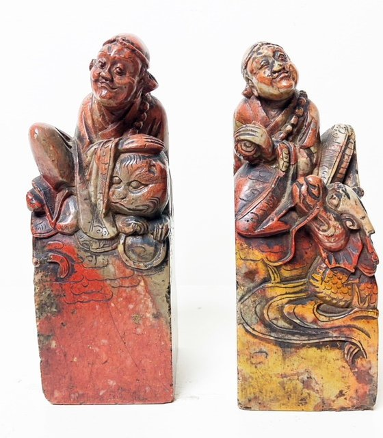 PAIR OF CHINESE CARVED SOAPSTONE SEALS